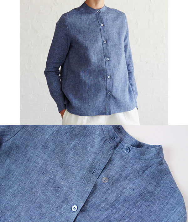 blue chambray button-up shirt with mandarin collar