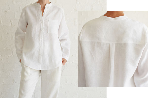 white linen shirt with buttons and back yoke