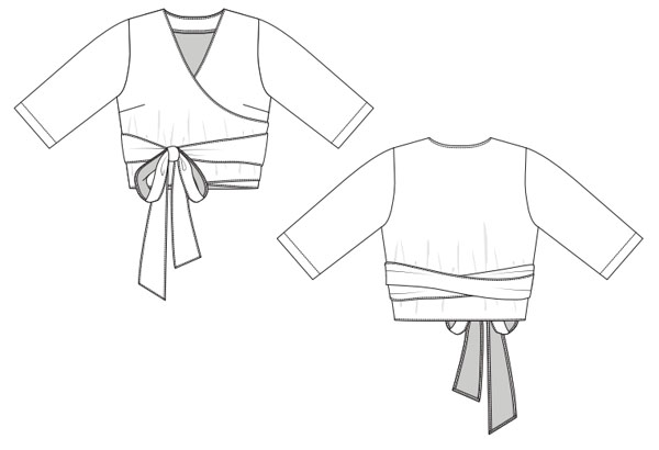 free wrap top sewing pattern line drawing, front and back view