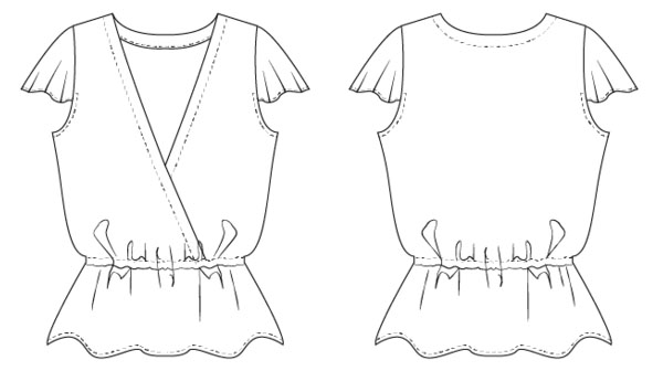 free wrap top sewing pattern line drawing