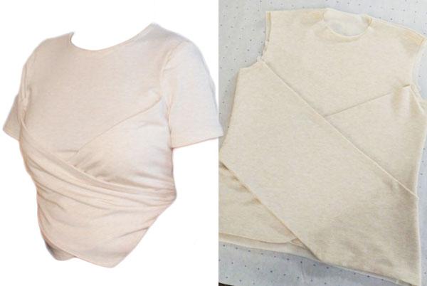 unique beige t-shirt with wrap detail