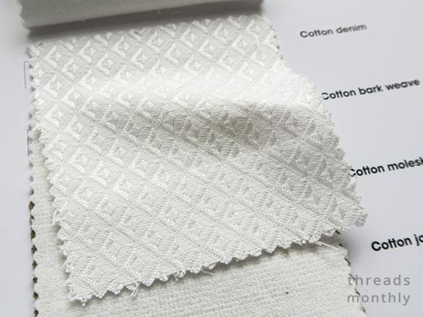 white diamond cotton jacquard fabric sample