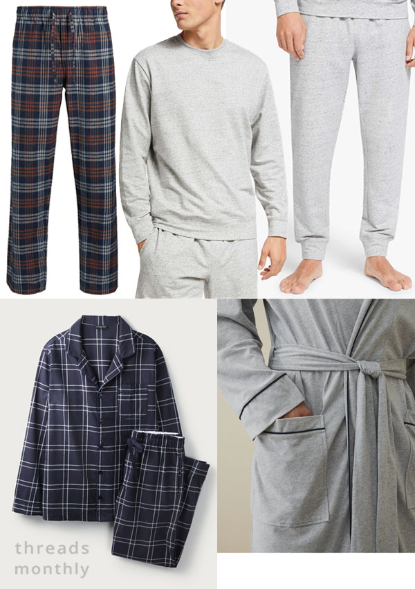 mens pajamas in grey stretch fabric and plaid.