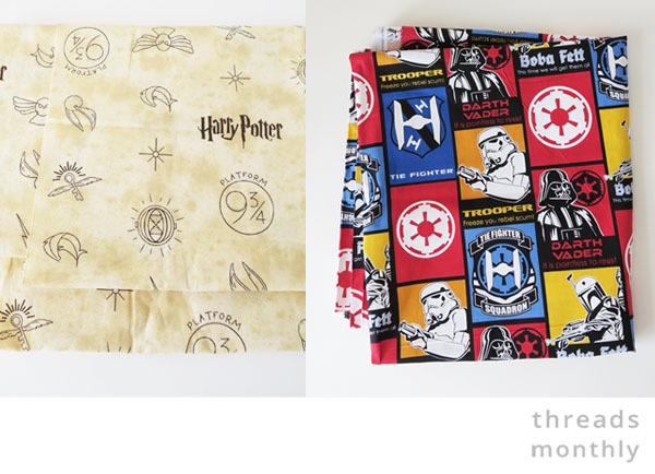 star wars and harry potter fabric