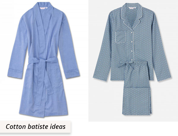 cotton batiste dressing gown and pajamas