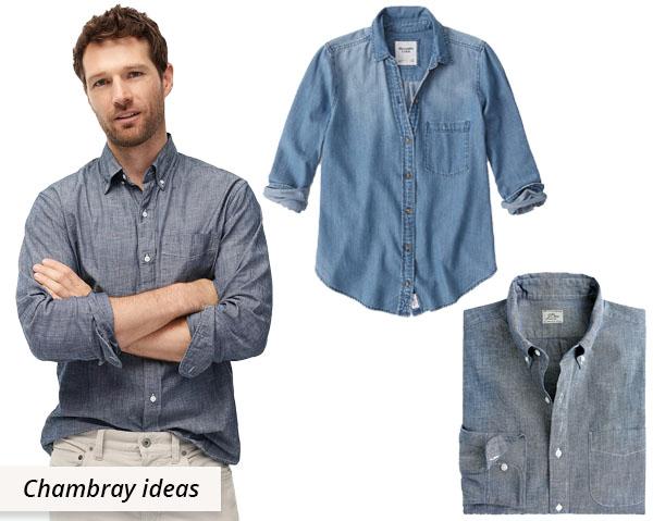 3 blue chambray cotton shirts