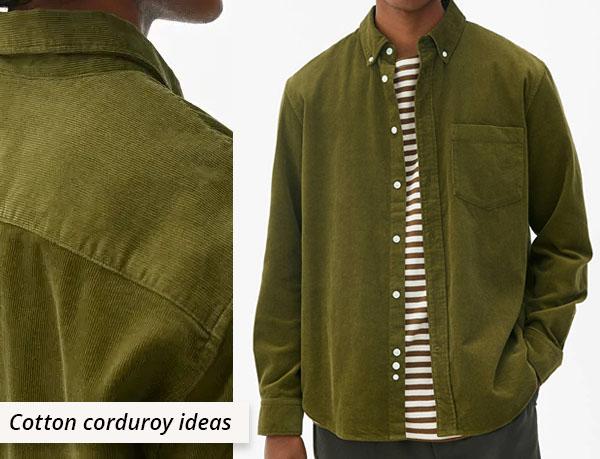 man wearing green cotton corduroy shirt