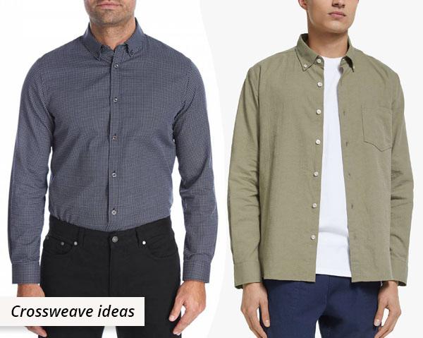 2 men wearing cotton crossweave shirts
