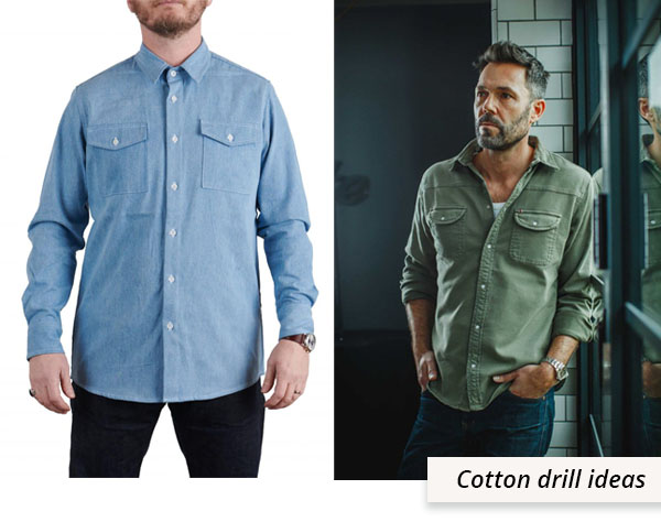 2 men wearing cotton drill shirts