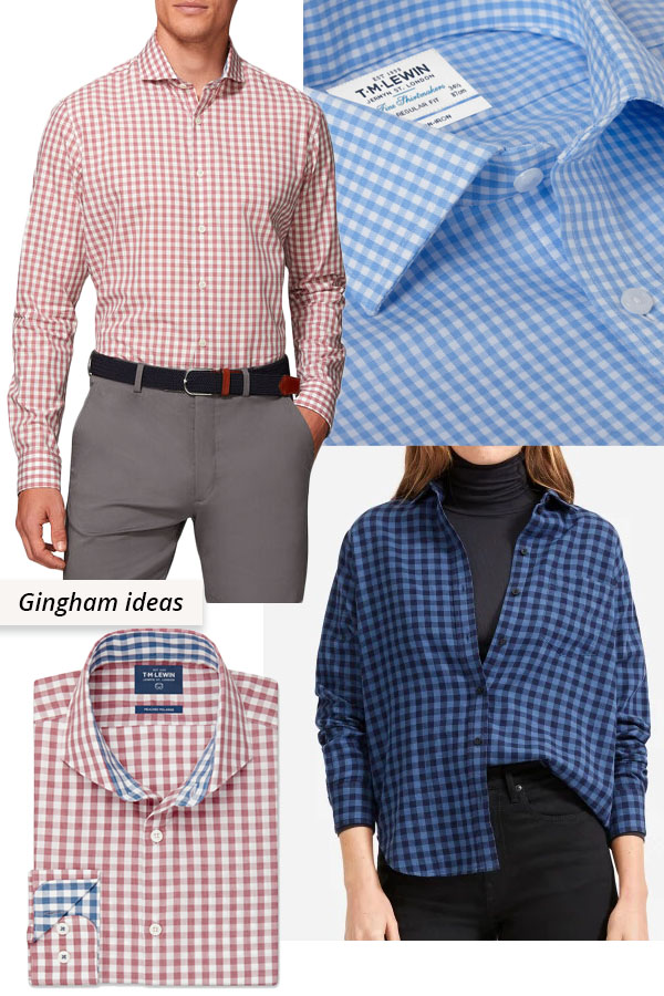 4 red and blue gingham cotton shirts