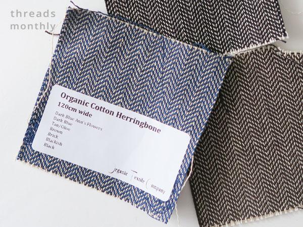 blue cotton herringbone fabric sample