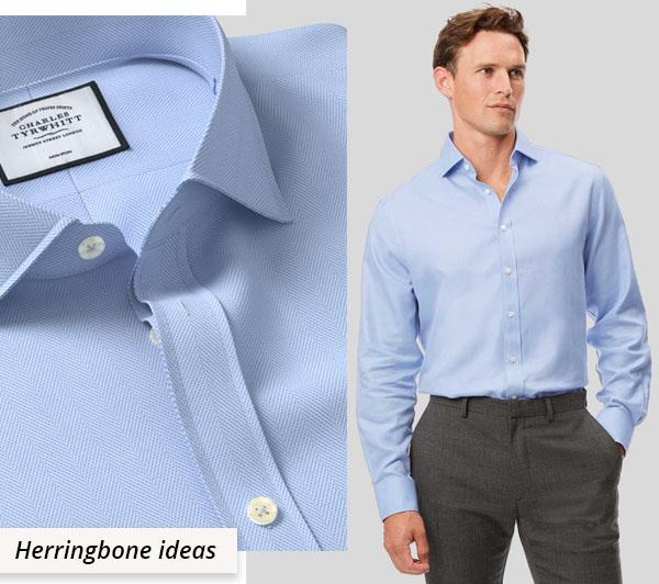 man wearing blue cotton herringbone shirt