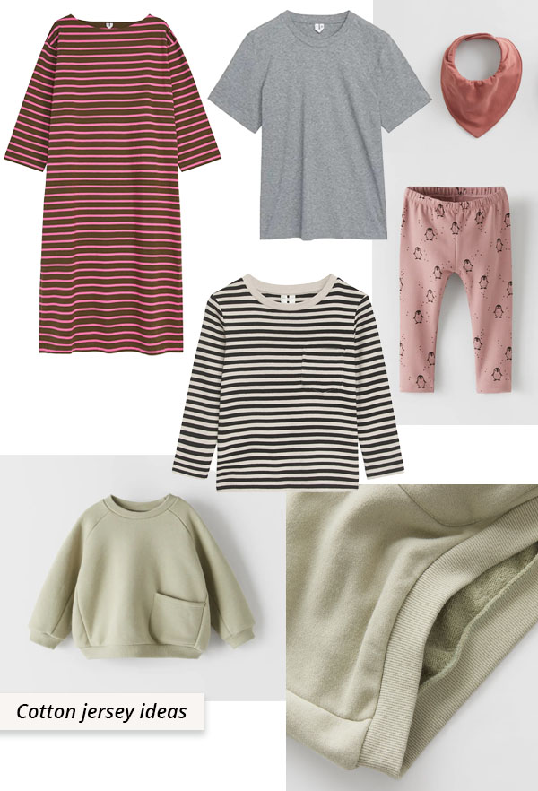 cotton jersey dresses, tops, and baby leggings