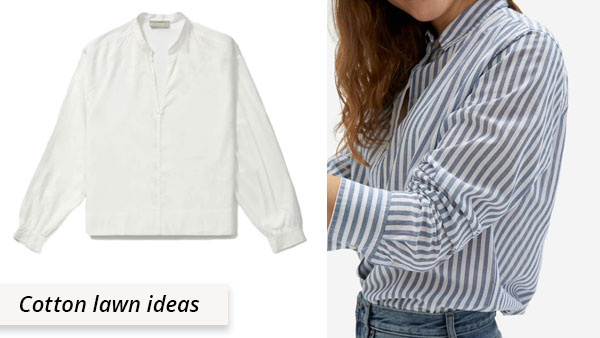 2 cotton lawn shirts with white and blue stripes
