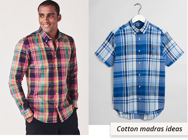 man wearing red cotton madras shirt, and blue madras shirt on hanger.