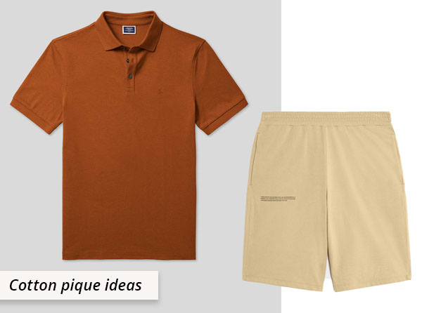 brown cotton pique polo shirt and beige shorts