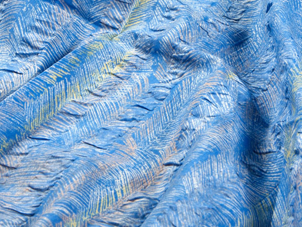 blue cotton plisse fabric with stripes