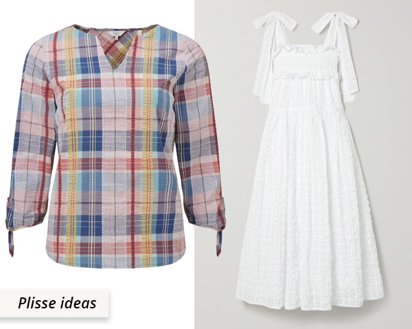 check top and white gathered dress