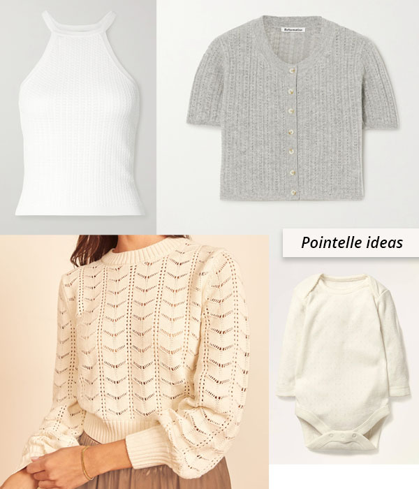cotton pointelle top, cardigan, baby bodysuit, and sweater