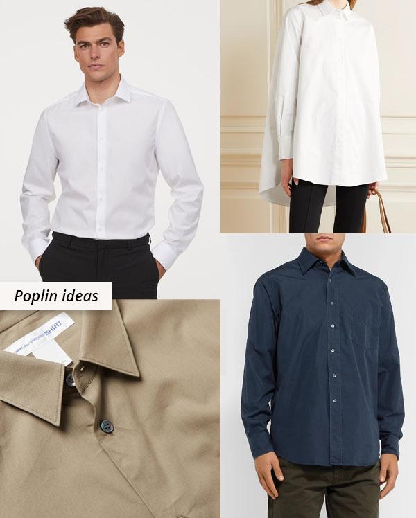 4 cotton poplin shirts in white, navy, and beige.