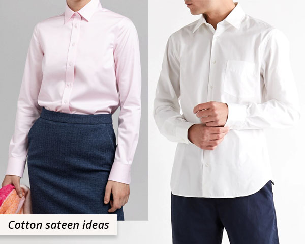 cotton sateen shirts worn by man and woman
