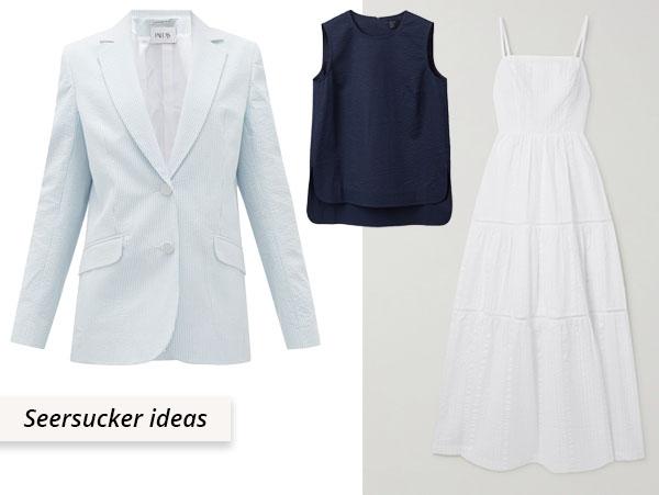 cotton seersucker top, jacket, and dress.