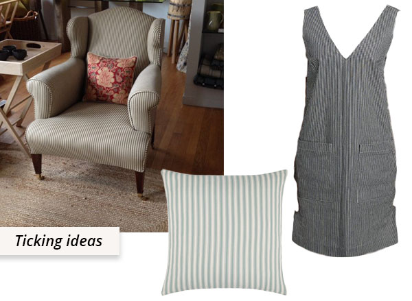 cotton ticking chair, cushion, and dress.