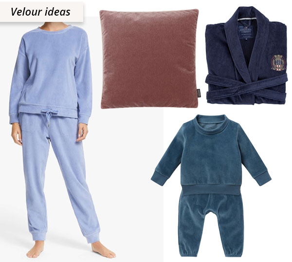 velour uses: tracksuit, pillow, and robe.