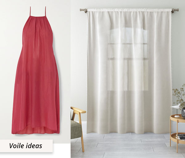 red cotton voile dress and white curtains
