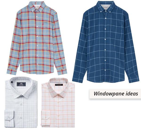 4 cotton windowpane shirts