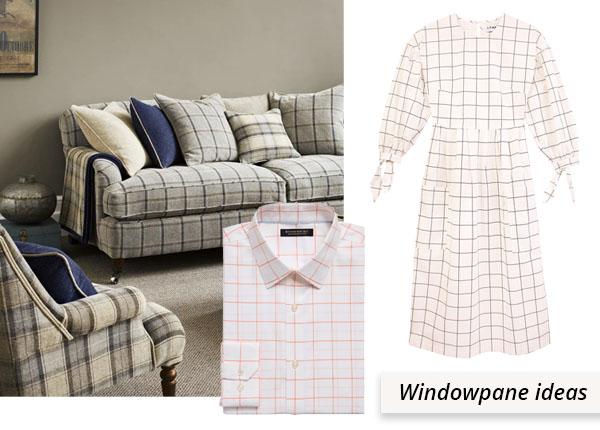 windowpane uses: sofa, dress, and shirt.