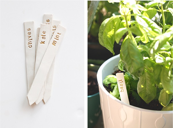 white clay garden markers in plant pot
