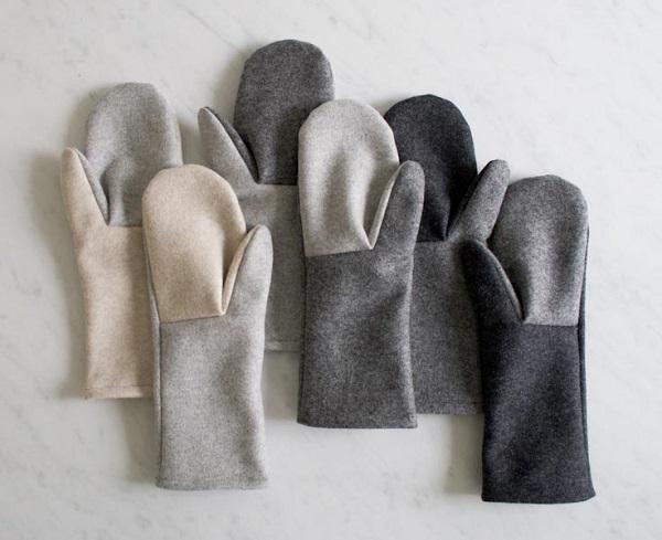 diy grey felt mittens