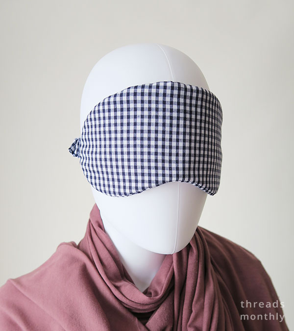 diy gingham sleep mask worn by mannequin