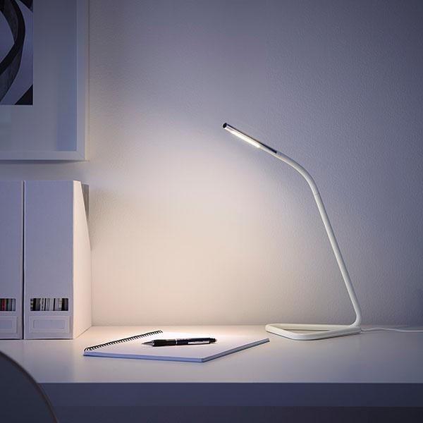 desk lamp shining light