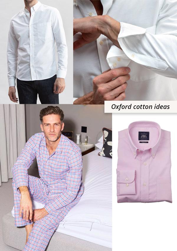 man wearing white shirt, man wearing check pajamas, and a pink oxford cotton shirt