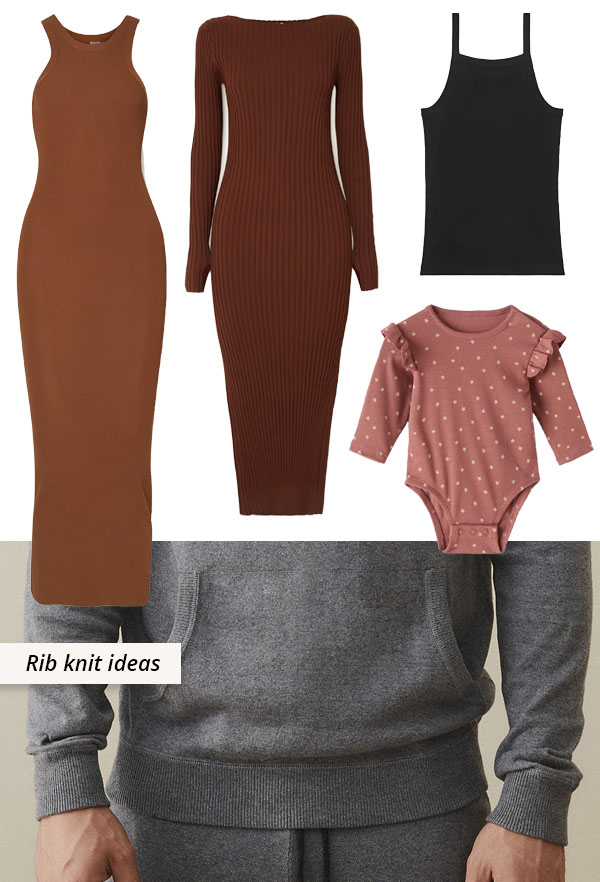 rib knit dresses, tops, and baby clothes