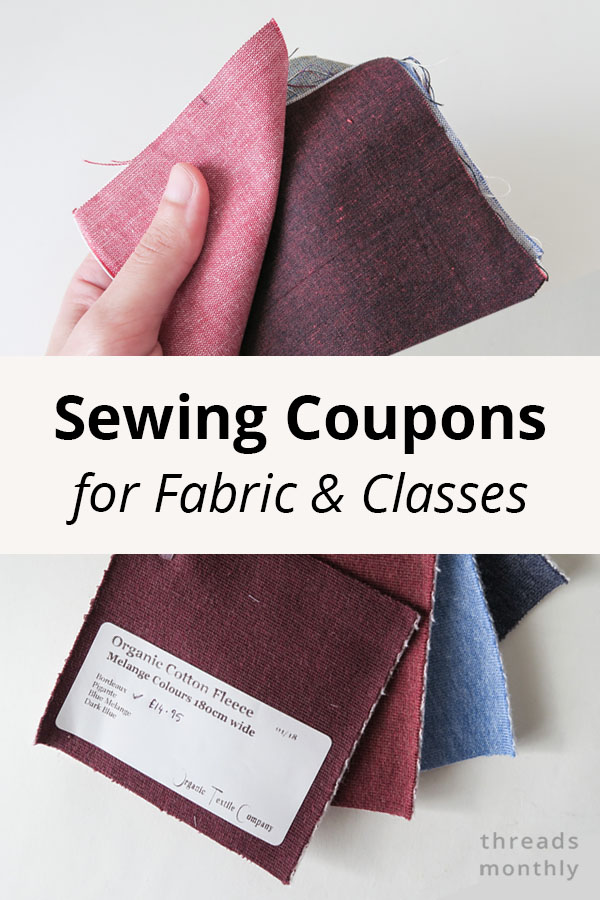 sewing coupons for fabric and classes