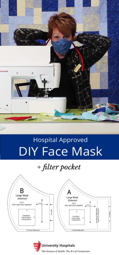 free pattern for olson face mask with ties