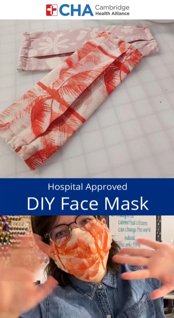 orange pleated face mask with elastic casing
