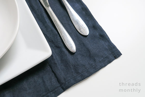 close-up of linen placemat