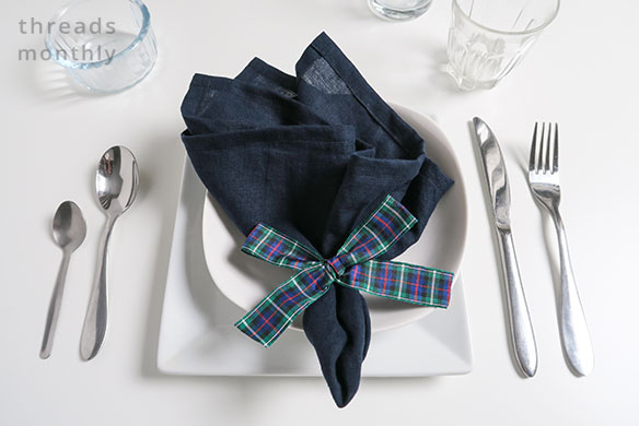 navy linen napkin with check bow