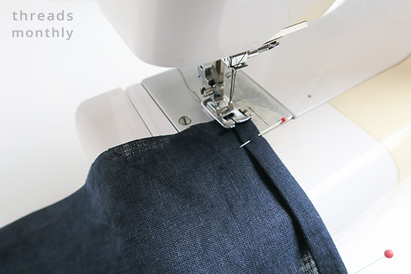 placemat being sewn on sewing machine