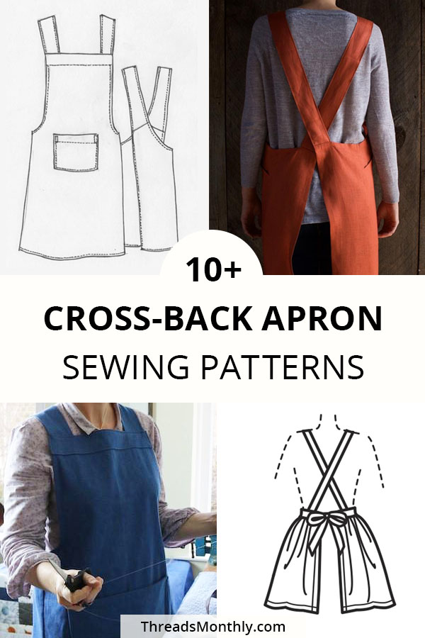 10 Cross Back 'Japanese' Apron Patterns & Tutorials (+ FREE)
