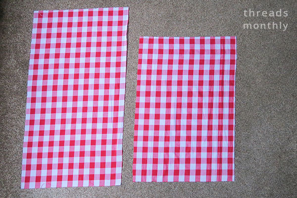 pillowcase fabric cut into 2 rectangles
