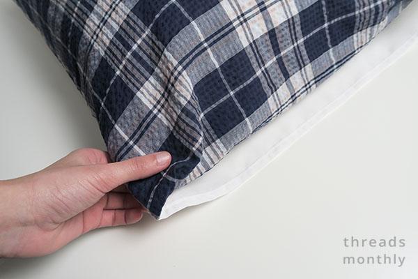 blue envelope pillowcase with inner flap