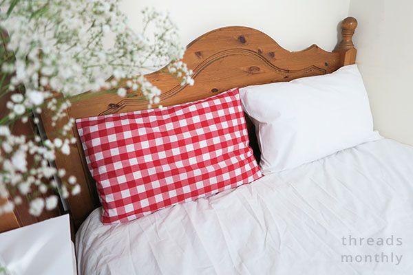 standard size diy pillowcases in bed
