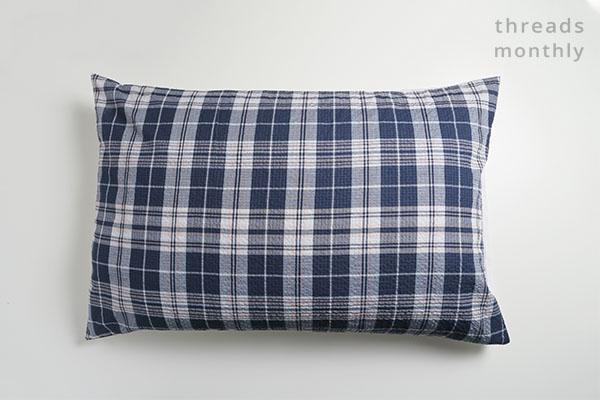 blue check diy pillowcase