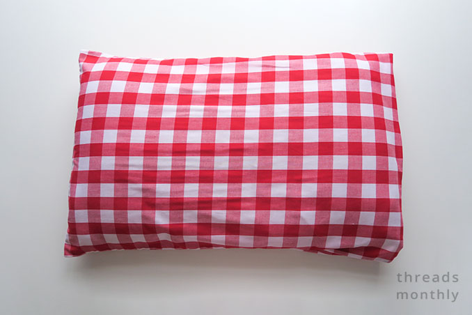 diy red check pillowcase in standard size