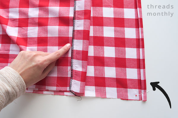 fold and stitch pillowcase edges